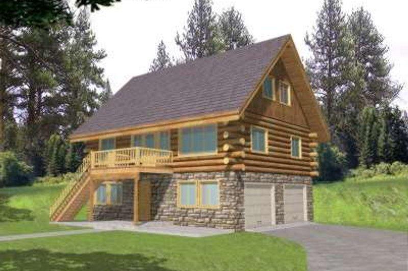 Log Exterior - Front Elevation Plan #117-414