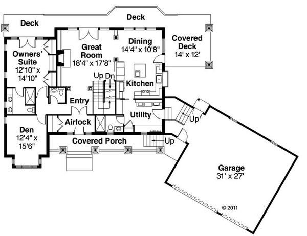 Craftsman Floor Plan - Main Floor Plan Plan #124-880