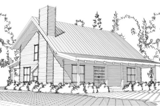 Log Exterior - Front Elevation Plan #63-280