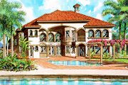 Mediterranean Style House Plan - 4 Beds 5.5 Baths 4869 Sq/Ft Plan #420-160 Exterior - Front Elevation