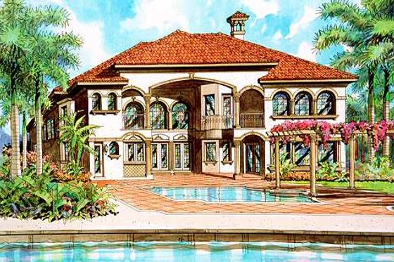 Mediterranean Exterior - Front Elevation Plan #420-160