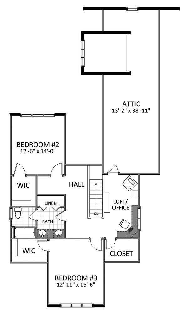 Bungalow Floor Plan - Upper Floor Plan Plan #898-21