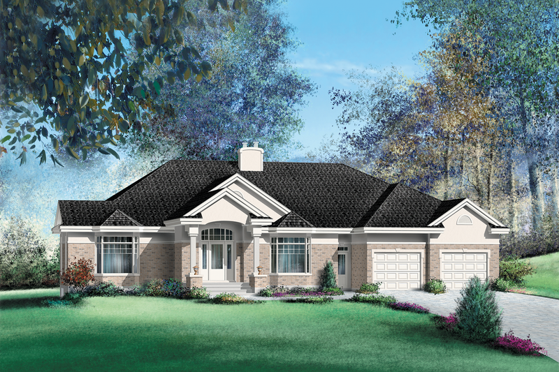 Traditional Style House Plan - 3 Beds 2.5 Baths 3775 Sq/Ft Plan #25-1239 Exterior - Front Elevation