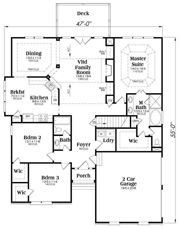 Craftsman Floor Plan - Main Floor Plan Plan #419-106