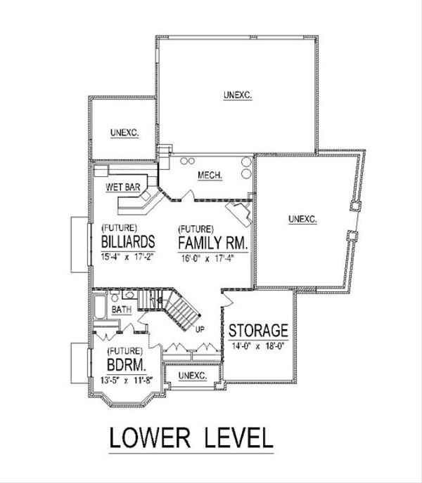 European Floor Plan - Lower Floor Plan Plan #458-18