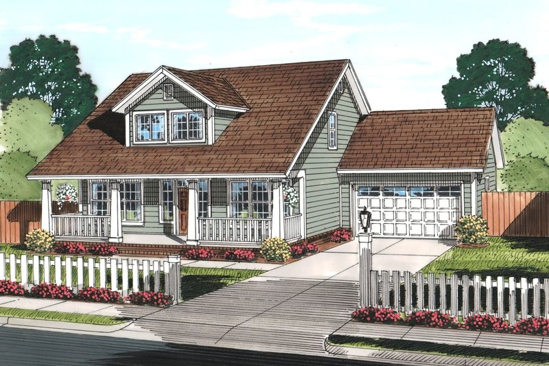 Craftsman Style House Plan - 3 Beds 2.5 Baths 2066 Sq/Ft Plan #513-2065 Exterior - Front Elevation