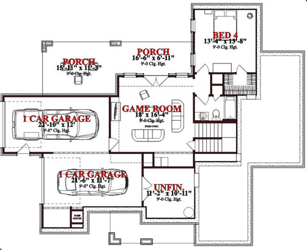 Craftsman Floor Plan - Lower Floor Plan Plan #63-189