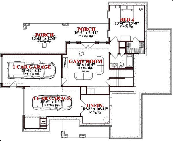 Craftsman Floor Plan - Lower Floor Plan #63-189
