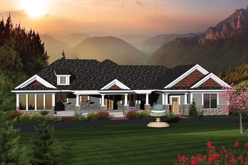 Home Plan - Country Exterior - Front Elevation Plan #70-1051