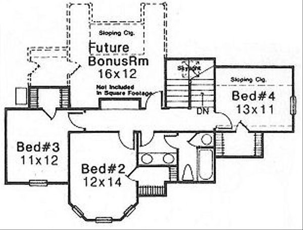Farmhouse Floor Plan - Upper Floor Plan Plan #310-614