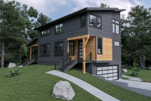 Home Plan - Contemporary Exterior - Front Elevation Plan #1070-62