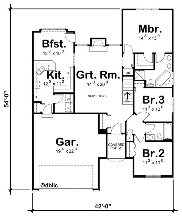 Home Plan - Traditional Floor Plan - Main Floor Plan #20-109