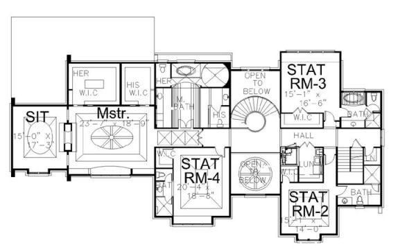 European Floor Plan - Upper Floor Plan Plan #119-301
