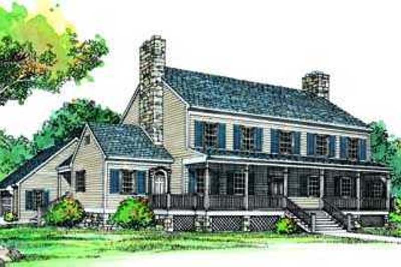 Colonial Exterior - Front Elevation Plan #72-182