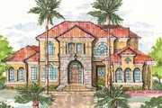 European Style House Plan - 3 Beds 3 Baths 4826 Sq/Ft Plan #135-156 Exterior - Front Elevation