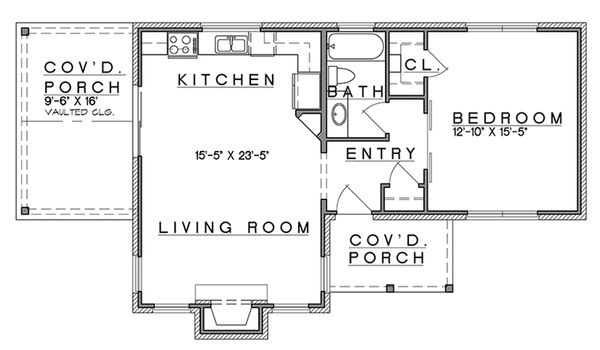 Cottage Style House Plan 1 Beds 1 Baths 808 Sq Ft Plan