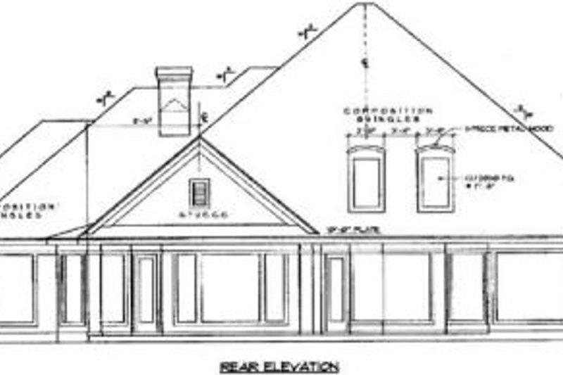 European Exterior - Rear Elevation Plan #61-108 - Houseplans.com