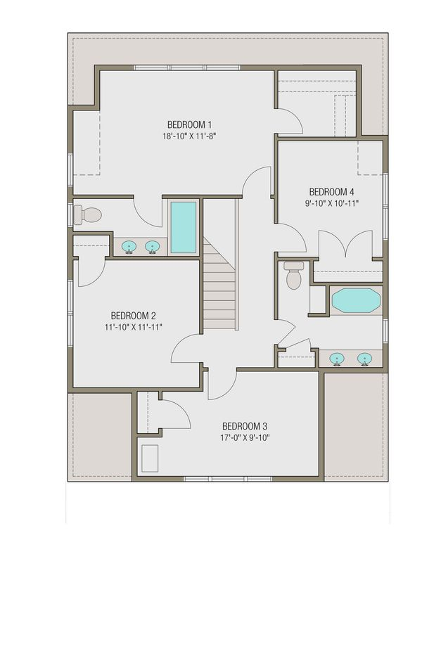 Craftsman Floor Plan - Upper Floor Plan Plan #461-46