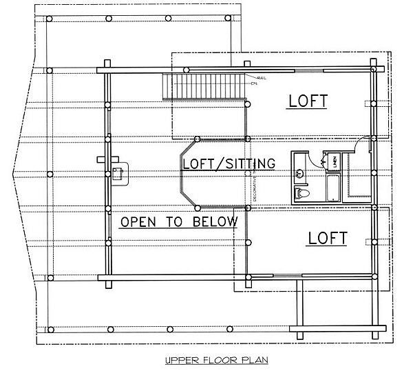 Log Floor Plan - Upper Floor Plan Plan #117-502