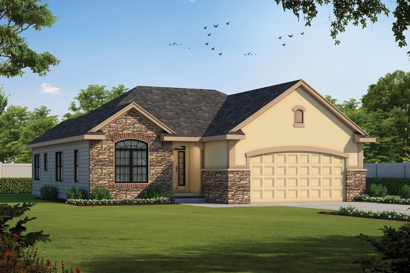 Traditional Style House Plan - 3 Beds 2 Baths 1482 Sq/Ft Plan #20-1792