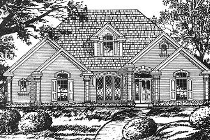 European Exterior - Front Elevation Plan #40-394