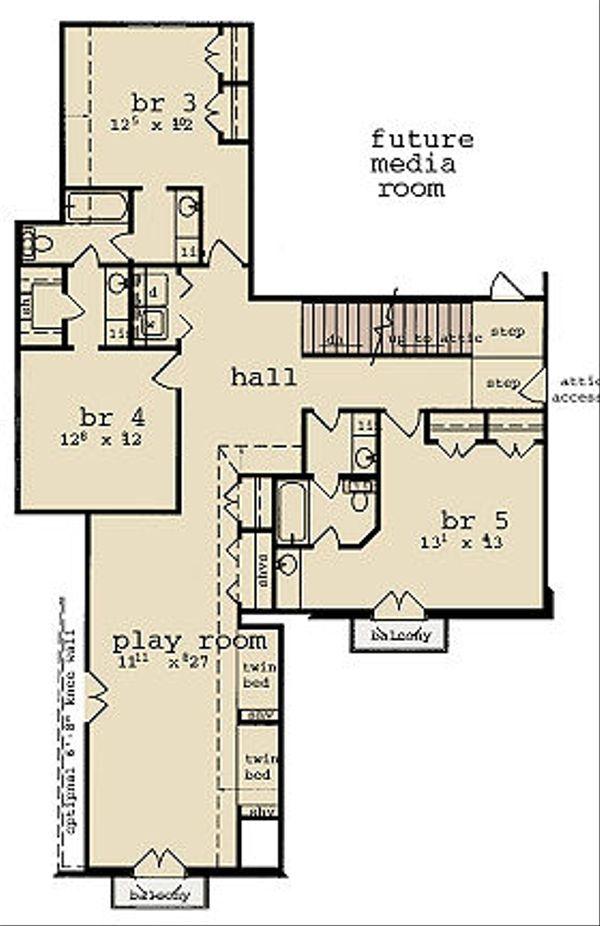 European Floor Plan - Upper Floor Plan Plan #36-474