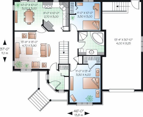 Country Floor Plan - Main Floor Plan Plan #23-782