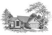 Traditional Style House Plan - 3 Beds 2 Baths 1370 Sq/Ft Plan #70-118 Exterior - Front Elevation