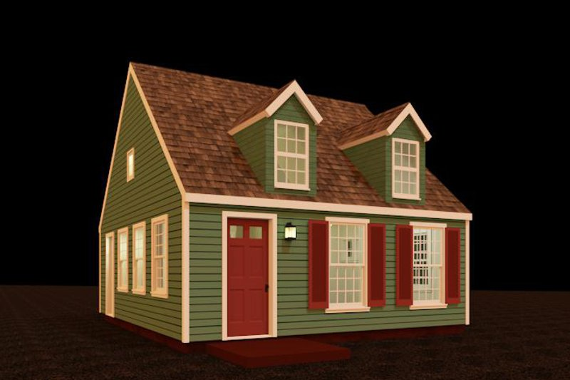 Colonial Style House Plan - 1 Beds 1 Baths 448 Sq/Ft Plan #917-33