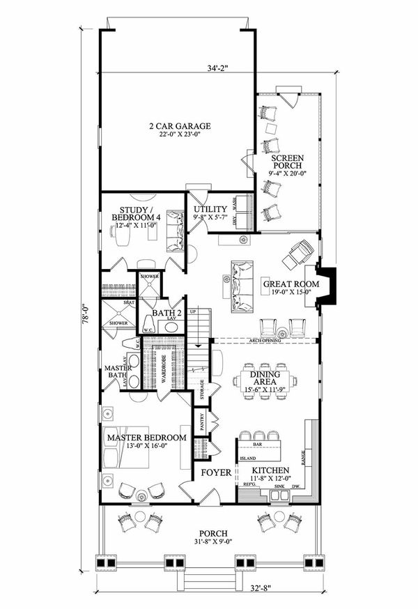 Country style home, cottage design, main level floor plan