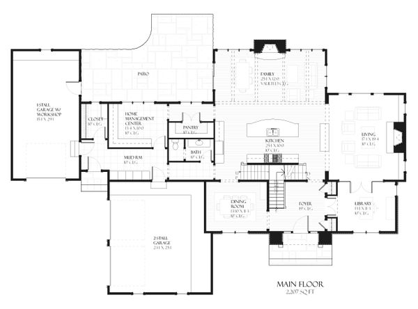 European style house plan, main level floor plan