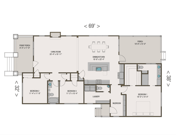 Craftsman Floor Plan - Main Floor Plan Plan #461-53