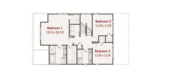 Craftsman Floor Plan - Upper Floor Plan Plan #461-30