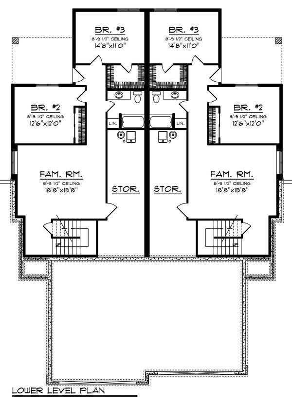 Ranch Floor Plan - Lower Floor Plan Plan #70-1475