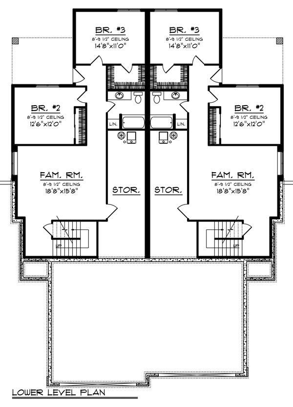 Ranch Floor Plan - Lower Floor Plan Plan #70-1475