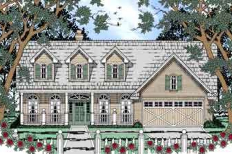 Country Style House Plan - 3 Beds 2 Baths 1747 Sq/Ft Plan #42-302 Exterior - Front Elevation