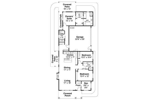 House Plan Design - Prairie Floor Plan - Main Floor Plan #124-1125