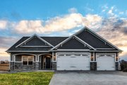 Ranch Style House Plan - 3 Beds 2 Baths 2005 Sq/Ft Plan #70-1485 Exterior - Front Elevation