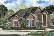 European Style House Plan - 5 Beds 5 Baths 3692 Sq/Ft Plan #17-452 Exterior - Front Elevation