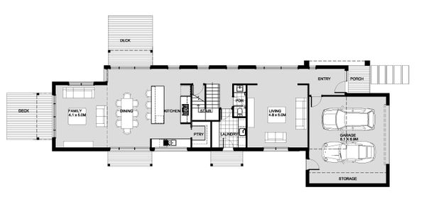 Modern Floor Plan - Main Floor Plan Plan #496-27