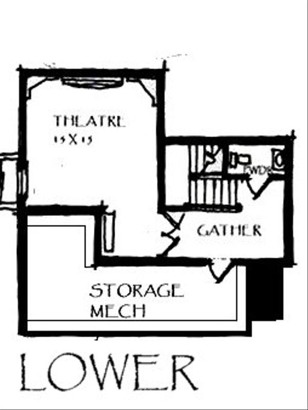 Craftsman Floor Plan - Lower Floor Plan #921-25