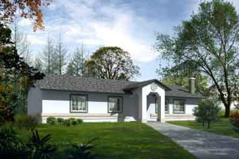 Ranch Style House Plan - 3 Beds 2 Baths 1508 Sq/Ft Plan #1-1269 Exterior - Front Elevation
