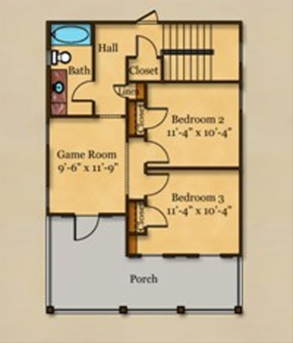 Beach Floor Plan - Upper Floor Plan #442-4