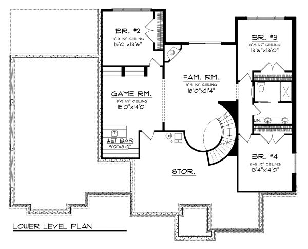 Ranch Floor Plan - Lower Floor Plan Plan #70-1128