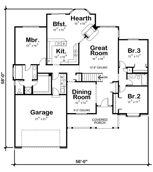 Traditional Floor Plan - Main Floor Plan Plan #20-619