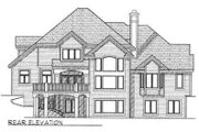 European Style House Plan - 4 Beds 3.5 Baths 4029 Sq/Ft Plan #70-545 Exterior - Rear Elevation