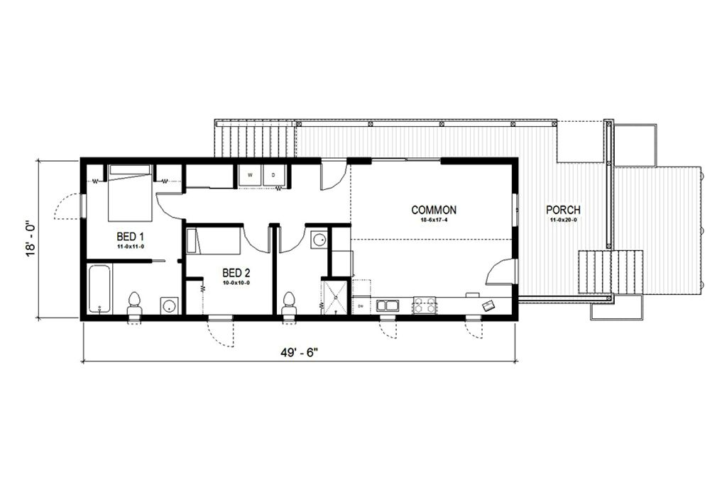 Cottage Style House Plan - 2 Beds 2 Baths 891 Sq/Ft Plan #497-23 ...