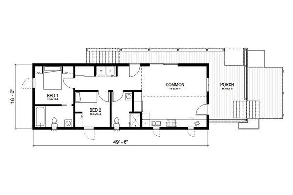 Cottage Style House Plan - 2 Beds 2 Baths 891 Sq/Ft Plan #497-23 Floor Plan - Main Floor Plan