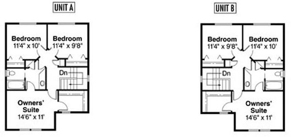 Craftsman Floor Plan - Upper Floor Plan Plan #124-811