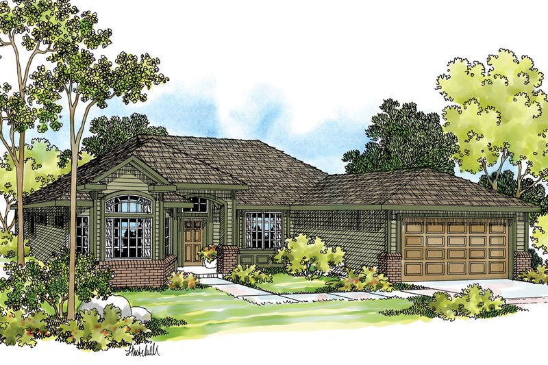 Ranch Exterior - Front Elevation Plan #124-385